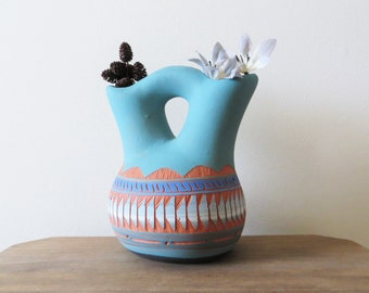 Vintage Navajo Vase Turquoise and Terra Cotta Collectible Pottery by Valerie Etsitty