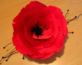 Red Silk Poppy Hair Pin and/or Brooch
