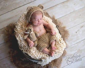 Baby Bear Bonnet/Newborn Photo Prop/ Gender Neutral Prop/ Woodland Nursery/Crochet Bear Bonnet/Baby Shower Gift/ Bear Hat