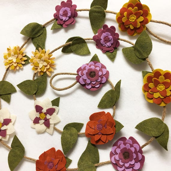 Flower Garland, Plum and Ivory Flowers, Felt Flower Garland, Posable Twine, Autumn Decor, Wedding and Party Decoration