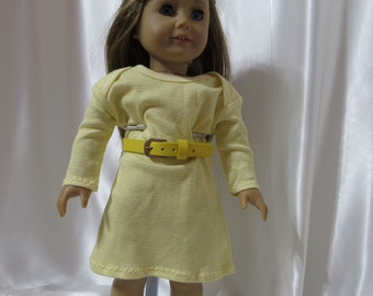 "Yellow and white striped long-sleeved knit dress with belt for 18"" dolls"