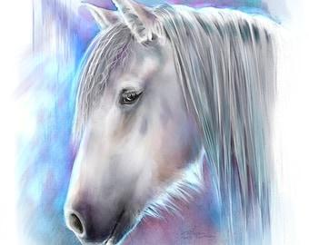 Giclee Art Print - Unicorn Art Horse Art - original artwork colorful home decor wall art animal print gift for horse lover gift for her