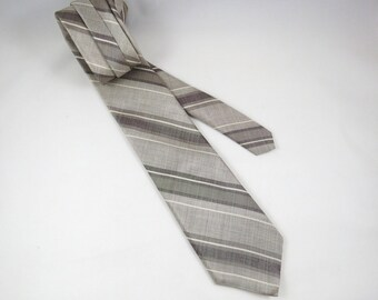 Vintage Silk Necktie, Don Loper, Grey, Pewter, White Diagonal Stripes, Hint of Brown