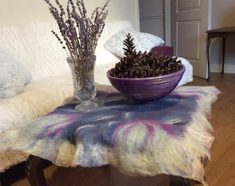 Wool felted silk tablecloth
