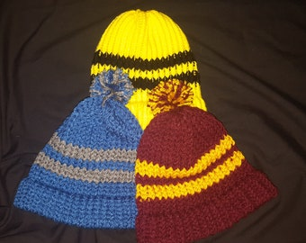 Hogwarts House Color Loom Knit Beanie PATTERN