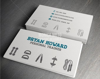 Custom Printable Personal Trainer Business Card Template/ Fitness Coach Business cards/ Fitness Trainer