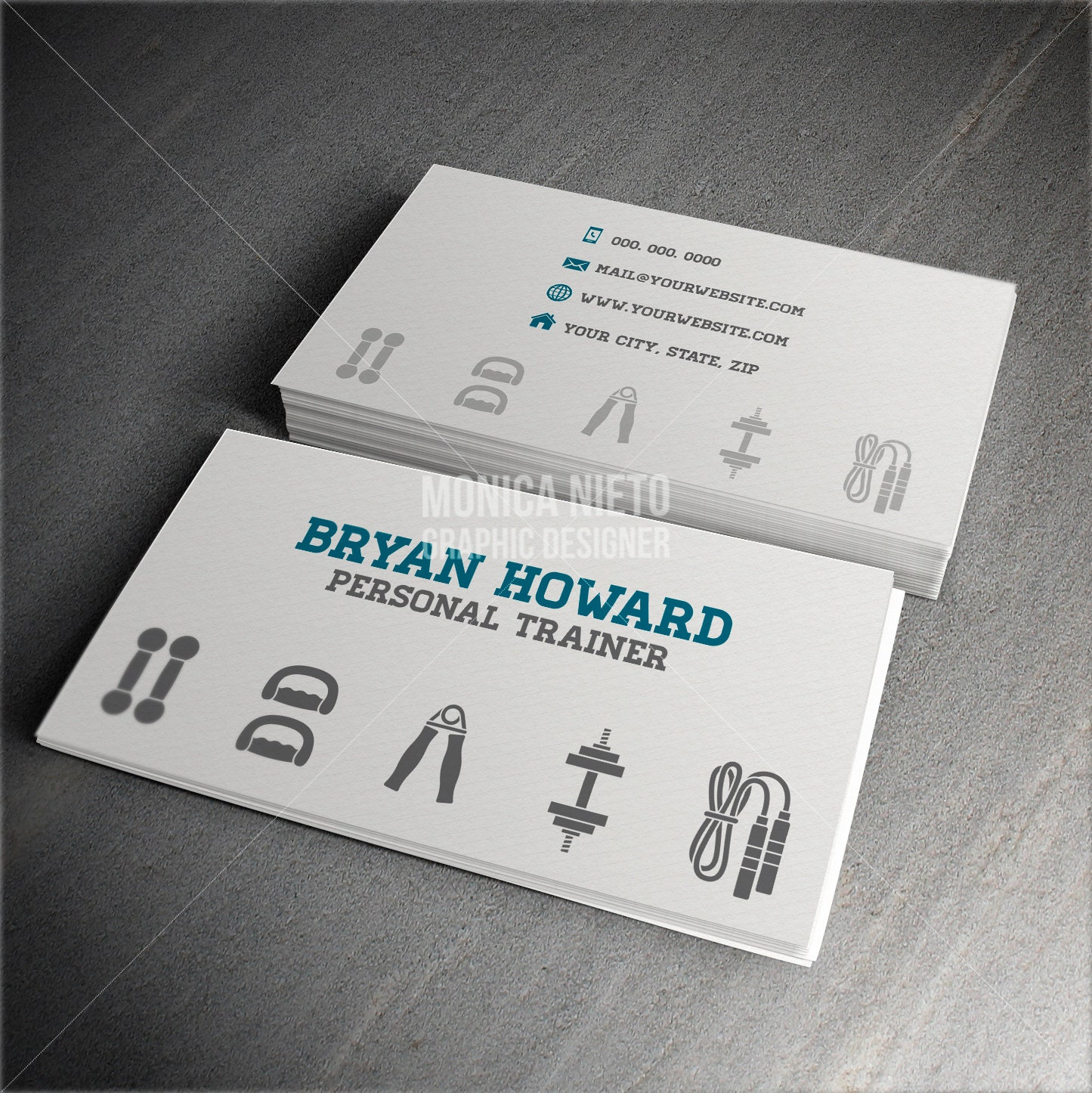 Custom Printable Personal Trainer Business Card Template/