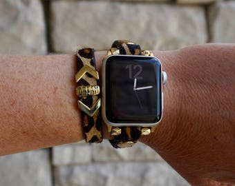 Leopard Double Wrap Leather Apple Watch Band Strap for iWatch, Adapter 38mm/42mm, with Gold Accents