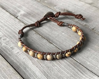 Picture Jasper Beaded Leather Wrap Bracelet ~ Cuff Bracelet ~ Bohemian Boho Earthy Hippie Gypsy Rustic Tribal Beachy
