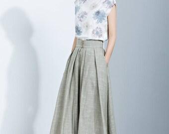 Linen Skirt, Pleated Skirt, Midi Skirt, Loose Skirt, Summer Skirt, Long Skirt, Womens Skirt, layered skirt, high waist skirt, handmade C1136