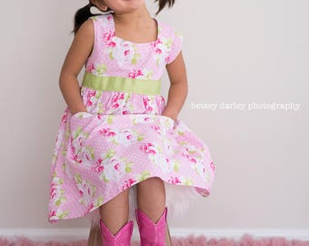 Pink Roses and Dots Easter Dress with Sweetheart Neckline Made to Order in Sizes 2 through 7