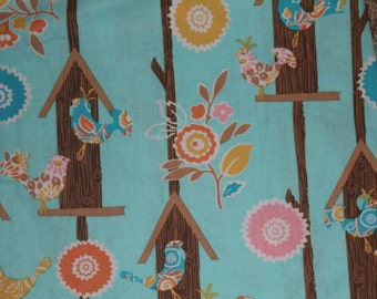Blue Bird House and Bird Crib/Toddler bed Fitted Sheet