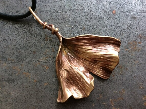 Hand forged Bronze Ginkgo Leaf pendant - made to order
