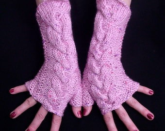 Fingerless Gloves Pink Cabled  Acrylic Wrist Warmers