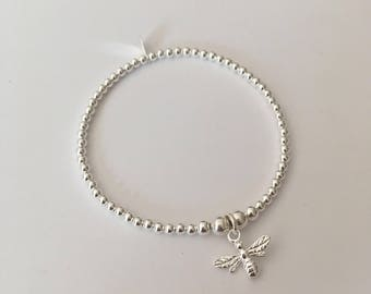 Sterling Silver stretch bracelet with Bumble Bee charm