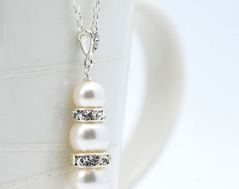 Ivory Pearl Necklace | Pearl Crystal Necklace | Swarovski Jewelry | Bride Jewelry | Bridesmaids Gift | Elegant Necklace | Gift for Her
