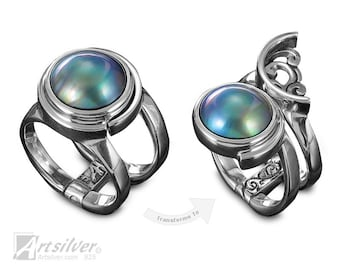 Mabe Pearl Ring Sterling Silver. White, Pink, or Blue Mabe Pearl Ring. Multi Style June Birthstone Ring - KS455s