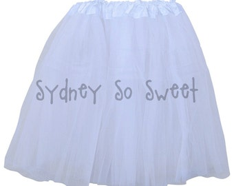White - PLUS Size XL or Extra Plus XXL Adult, Teen, Women's 3 Layer Ballet Tutu Skirt - Three Layers, Costume, Running, 5K, Party Skirt