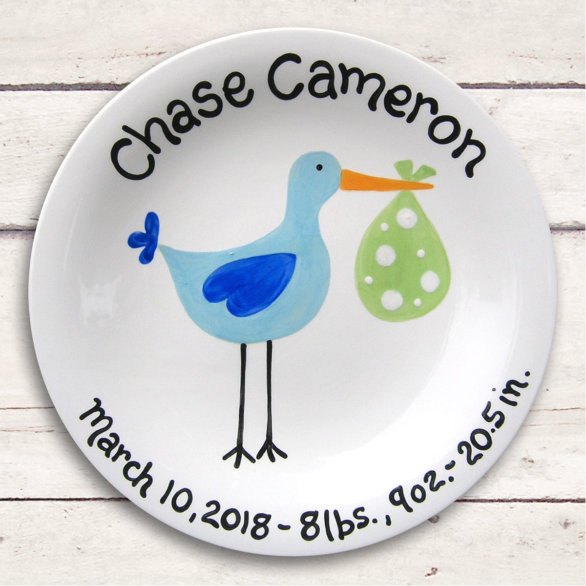 Baby Stork Ceramic Plate - Hand Painted Baby Gift - Stork Baby Shower - Sassy Stork Baby Boy - Personalized Gift for Newborn - New Baby  sc 1 st  Little Worm And Company : personalized ceramic plate - pezcame.com