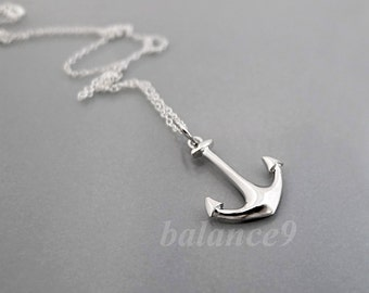 Anchor Necklace, dainty anchor necklace, solid sterling silver charm pendant and chain, everyday jewelry, holidays gift, by balance9