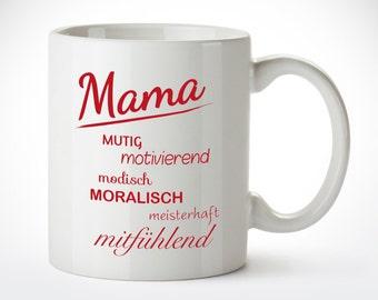 Tasse für Mütter Motiv Mamas Adjektive Kaffeetasse Kaffeebecher für Mütter zum Muttertag