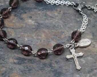 Czech Glass Rosary Bracelet in Amethyst, 1 Decade Chaplet Bracelet, February Birthstone Bracelet, Miraculous Medal, Catholic Jewelry