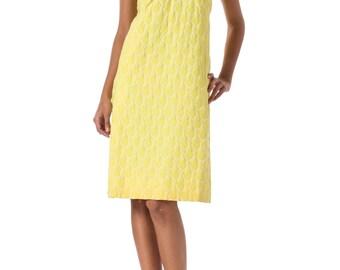 1960s MOD Yellow Technic Jacquard Dress SIZE: XS, 2