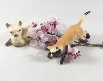 2 PC SET Vintage Siamese Cat Figurines Made in Japan Bone China Japan Siamese Kitty Cat Figurines Collectible Cats For Cat Ladies Cat Lovers