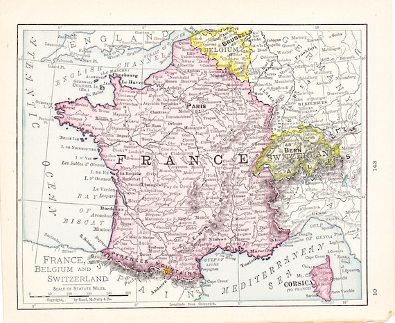 1908 Map France Belgium and Switzerland Vintage Antique Map