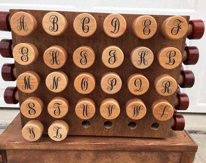 Laser Engraved CURLY single Black letter Maple Wood Wine Bottle Stoppers