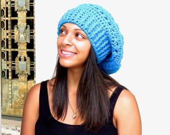 Crochet Slouchy Hat, Tam Hat, Hippie Hat, Crochet Hat, Color is Aqua,