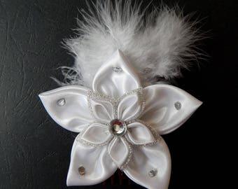 White kanzashi flower for hair (PEP) comb set
