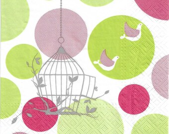 """Set of 3 paper napkins / 33 cm x 33 cm / """"Birds"""" open cage and 2 beautiful doves finding freedom"""