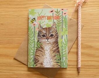 Illustrated Garden Tabby Cat Birthday Card