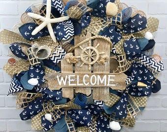 Summer Wreath,Beach Wreath, Coastal Wreath, Nautical Wreath, Burlap Wreath, , Farmhouse Wreath, Front Door Wreath, Welcome wreath, Spring