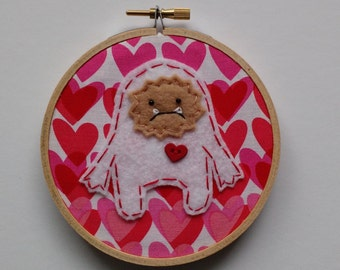 "Sample Sale 4"" Valentine Yeti Embroidery Hoop Ornament"