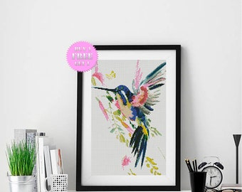 Hummingbird cross stitch pattern, modern bird colorful bright PDF pattern, buy 1 get 1 free, watercolor bird counted cross stitch