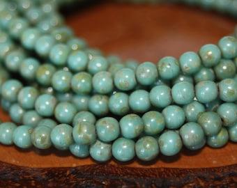 Czech Glass Beads, 4mm Round Druks, 50 Beads