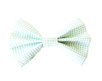 Aqua Aztec and Dot Fabric Bow Hair Clips or Bow Ties - dainty and Dapper