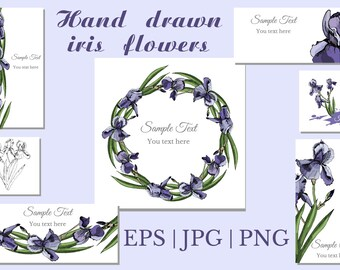 Collection with sketches of violet iris flowers and seamless patterns, Vector flowers, pattern, greeting, visit card, wreath