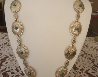 "Vintage HEAVY Fred Harvey Era Sterling Silver and Turquoise Stone Concha Necklace, 27 1/2"" Long, 70 Grams"