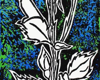 "Unique original lino-cut print on mulberry paper: Stemmed Rose (11 1/2"" x 4"")"