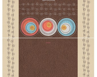 Ready Made Circles and Swirls Embroidered Ultrasuede Panels for Tote Bag