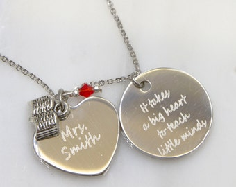 Teacher Necklace, Teacher Gift, Thank You Gift, Custom Teacher, Graduation gift, Teacher Appreciation, Personalized Teacher Jewelry, Teacher