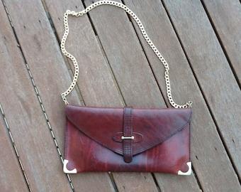 VINTAGE 70's leather clutch shoulder bag