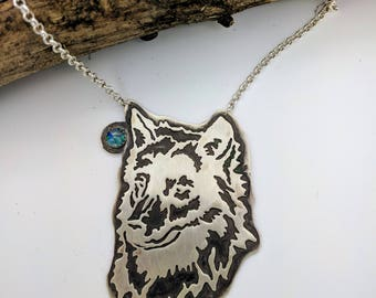 wolf opal sterling silver necklace