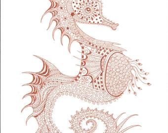 Sea Horse Instant Download Beach Print Doodle Art Zen
