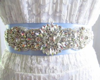 SQA-24 / Rhinestone Bridal Ribbon Sash / Double Faced Ribbon Sash / Bridal Sash / Embellished Sash / Wedding Belt / Art Deco Bridal Belt