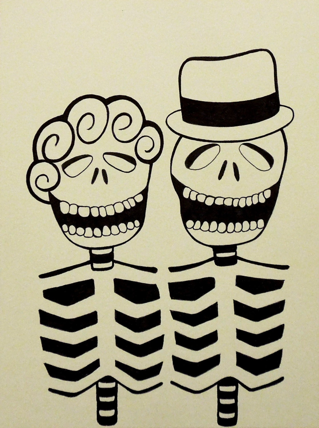 Skeleton Couple Day of the Dead Dia de los Muertos Mexican