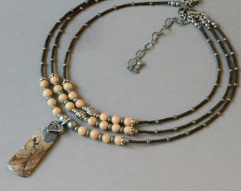 Tan, Gray and Brown Three Strand Boho Style Pendant Necklace